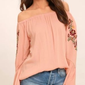PIECE OF ME BLUSH PINK EMBROIDERED OFF-THE-SHOULDE
